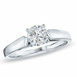 0.20 CT. Diamond Solitaire Crown Royal Engagement Ring in 14K White Gold (I-J/I2)