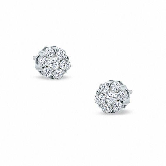 8239efe449afb8 0.33 CT. T.W. Diamond Flower Stud Earrings in 10K White Gold | View ...
