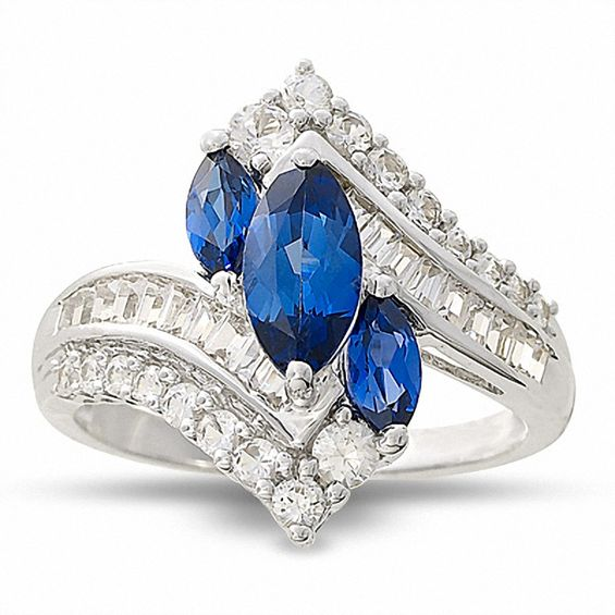 Marquise Lab-Created Ceylon Sapphire Ring with White