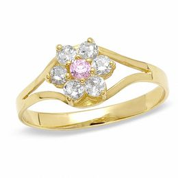 Childs' Pink and White Cubic Zirconia Flower Ring in 10K Gold - Size 3