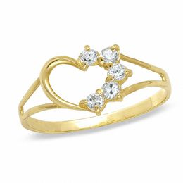 Childs' Lab-Created Cubic Zirconia Heart Ring 10K Gold - Size 3