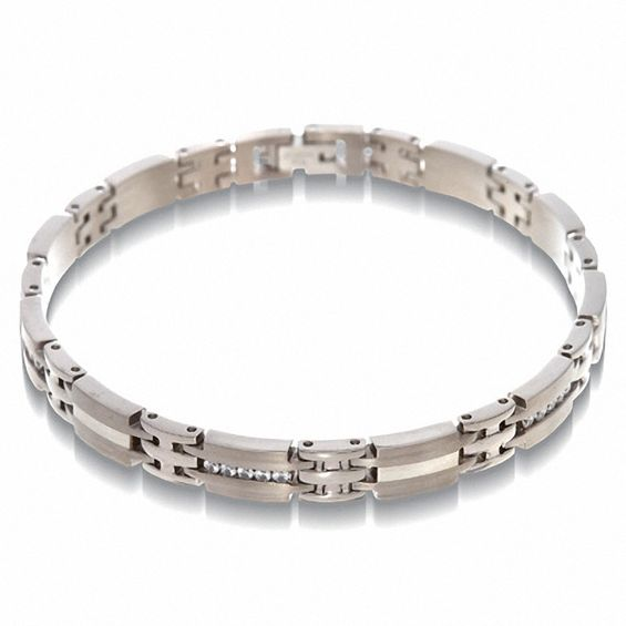 d09740e89bd54 Men's 0.50 CT. T.W. Diamond Bracelet in Titanium and Sterling Silver ...