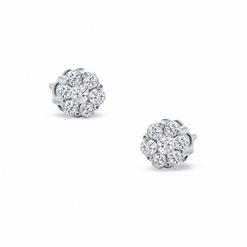 T W Diamond Flower Stud Earrings In 10k White Gold