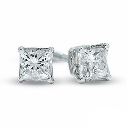 0.30 CT. T.W. Certified Canadian Princess-Cut Diamond Solitaire Stud Earrings in 14K White Gold (I/I2)