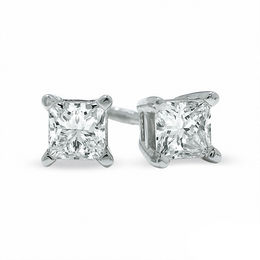 0.50 CT. T.W. Certified Canadian Princess-Cut Diamond Solitaire Stud Earrings in 14K White Gold (I/I2)