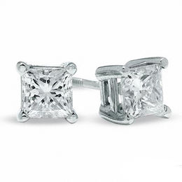 1.00 CT. T. W. Certified Canadian Princess-Cut Diamond Stud Earrings in 14K White Gold (I/I2)