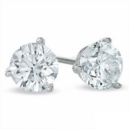 1.00 CT. T.W. Certified Canadian Diamond Solitaire Stud Earrings in 14K White Gold (I/I2)