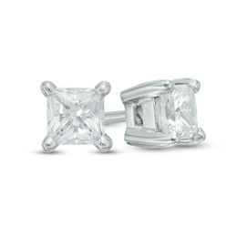 0.70 CT. T.W. Certified Canadian Princess-Cut Diamond Solitaire Stud Earrings in 14K White Gold (I/I2)