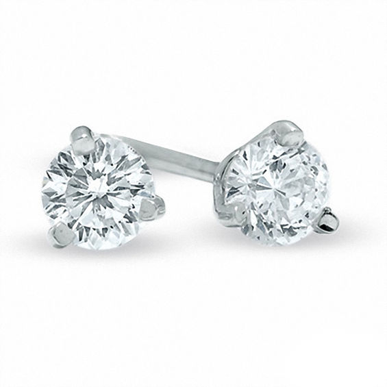 T W Certified Canadian Diamond Solitaire Stud Earrings In 14k White Gold I