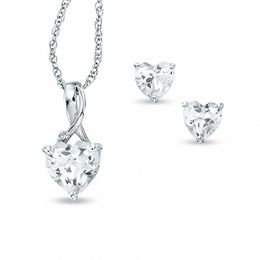 Heart-Shaped Lab-Created White Sapphire and Diamond Pendant and Earrings Set in Sterling Silver