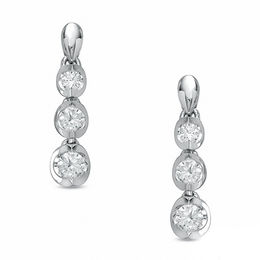 0.50 CT. T.W. Certified Canadian Diamond Three Stone Drop Earrings in 14K White Gold