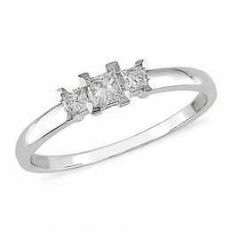 0.24 CT. T.W. Princess-Cut Diamond Three Stone Ring in 10K White Gold