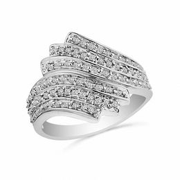 1/2 CT. T.W. Diamond Vintage-Style Eternal Flame Ring in Sterling Silver
