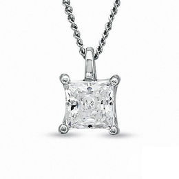 0.30 CT. Certified Princess-Cut Canadian Diamond Pendant in 14K White Gold (I/I2) - 17""