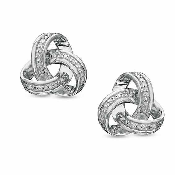 T W Diamond Celtic Knot Stud Earrings In Sterling Silver