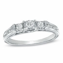 0.20 CT. T.W. Diamond Three Stone Ring in 10K White Gold