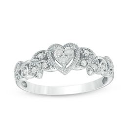 Cherished Promise Collection™ 0.12 CT. T.W. Diamond Vintage-Style Heart Promise Ring in 10K White Gold