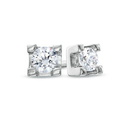 0.15 CT. T.W. Certified Canadian Diamond Solitaire Stud Earrings in 14K White Gold (I/I2)