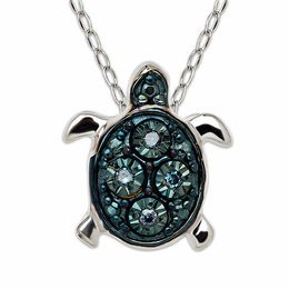 TEENYTINY™ Enhanced Blue Diamond Accent Turtle Pendant in Sterling Silver - 17""