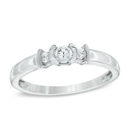 0.20 CT. T.W. Diamond Three Stone Promise Ring in 10K White Gold