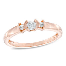 0.20 CT. T.W. Diamond Three Stone Promise Ring in 10K Rose Gold