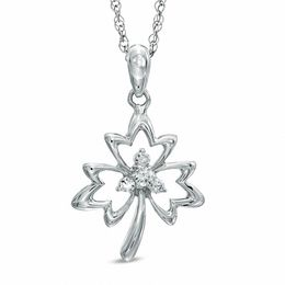 0.10 CT. T.W. Diamond Maple Leaf Pendant in Sterling Silver