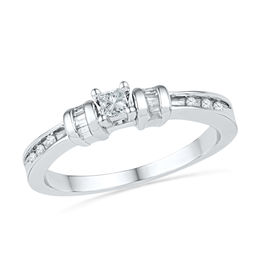 0.20 CT. T.W. Princess-Cut Diamond Three Stone Promise Ring in 10K White Gold