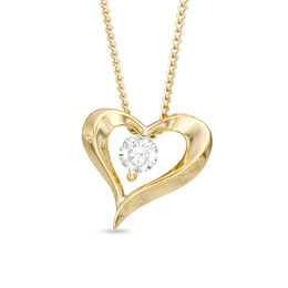 0.10 CT. Certified Canadian Diamond Solitaire Heart Pendant in 14K Gold (I/I2) - 17""
