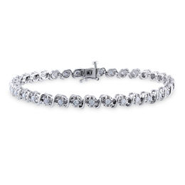 "1.05 CT. T.W. Diamond ""S"" Tennis Bracelet in Sterling Silver - 7.25"""