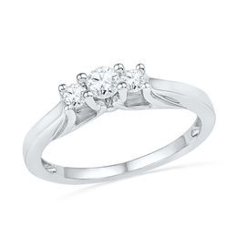 0.25 CT. T.W. Diamond Three Stone Promise Ring in 10K White Gold