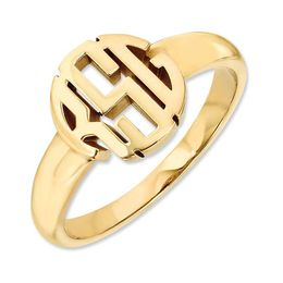 Monogram Circle Ring in 14K Gold (3 Initials)