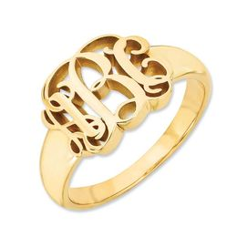 Script Monogram Signet Ring in 14K Gold (3 Initials)