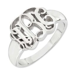 Script Monogram Signet Ring in 14K White Gold (3 Initials)