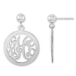 Monogram Circle Drop Earrings in Sterling Silver (3 Initials)