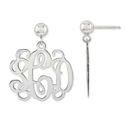 Monogram Drop Earrings in Sterling Silver (3 Initials)