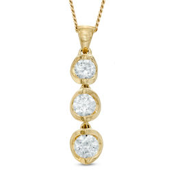 0.50 CT. T.W. Certified Canadian Diamond Three Stone Drop Pendant in 14K Gold (I/I2) - 17""