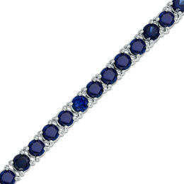 Lab-Created Blue Sapphire Tennis Bracelet in Sterling Silver - 7.5""