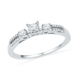 0.25 CT. T.W. Diamond Three Stone Split Shank Promise Ring in 10K White Gold