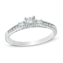 0.16 CT. T.W. Diamond Three Stone Promise Ring in 10K White Gold
