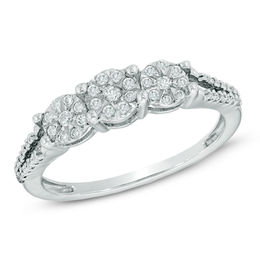 0.25 CT. T.W. Diamond Cluster Three Stone Promise Ring in 10K White Gold