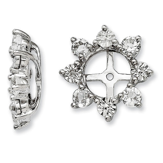 8404ae070443b White Topaz and Diamond Accent Starburst Stud Earring Jackets in Sterling  Silver Peoples Jewellers