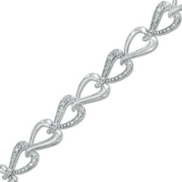 0.05 CT. T.W. Diamond Alternating Link Bracelet in Sterling Silver - 7.25""