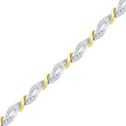 0.25 CT. T.W. Diamond Rolling Waves Bracelet in Sterling Silver and 10K Gold - 7.25""