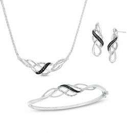 0.11 CT. T.W. Enhanced Black and White Diamond Loose Braid Three Piece Set in Sterling Silver