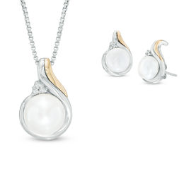 7.0-8.0mm Cultured Freshwater Pearl and Diamond Accent Pendant and Drop Earrings Set in Sterling Silver and 14K Gold