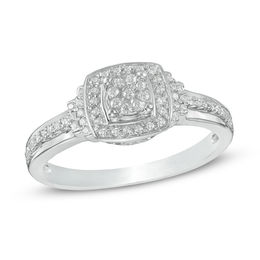 0.23 CT. T.W. Composite Diamond Square Frame Promise Ring in 10K White Gold