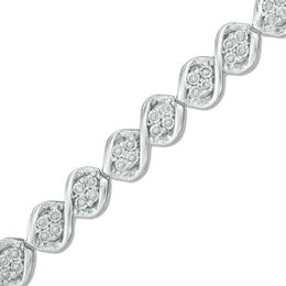 0.50 CT. T.W. Diamond Cascading Four Stone Bracelet in Sterling Silver - 7.5""