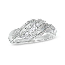 0.23 CT. T.W. Diamond Thick Wave Ring in Sterling Silver