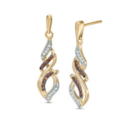 1/5 CT. T.W. Champagne and White Diamond Cascading Flame Drop Earrings in 10K Gold
