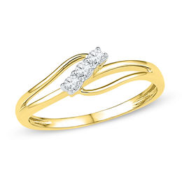 0.11 CT. T.W. Diamond Three Stone Bypass Ring in 10K Gold
